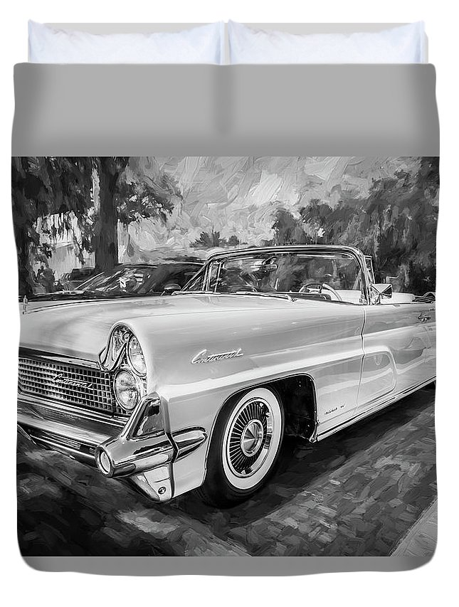 1959 Lincoln Duvet Cover featuring the painting 1959 Lincoln Continental Town Car Mk Iv Painted Bw  by Rich Franco