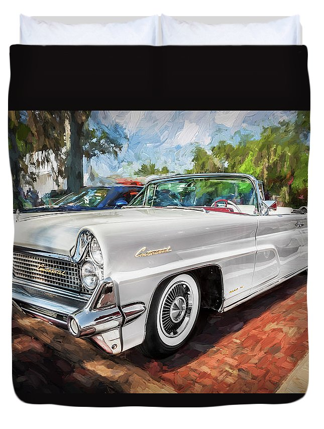 1959 Lincoln Duvet Cover featuring the painting 1959 Lincoln Continental Town Car Mk Iv Painted by Rich Franco