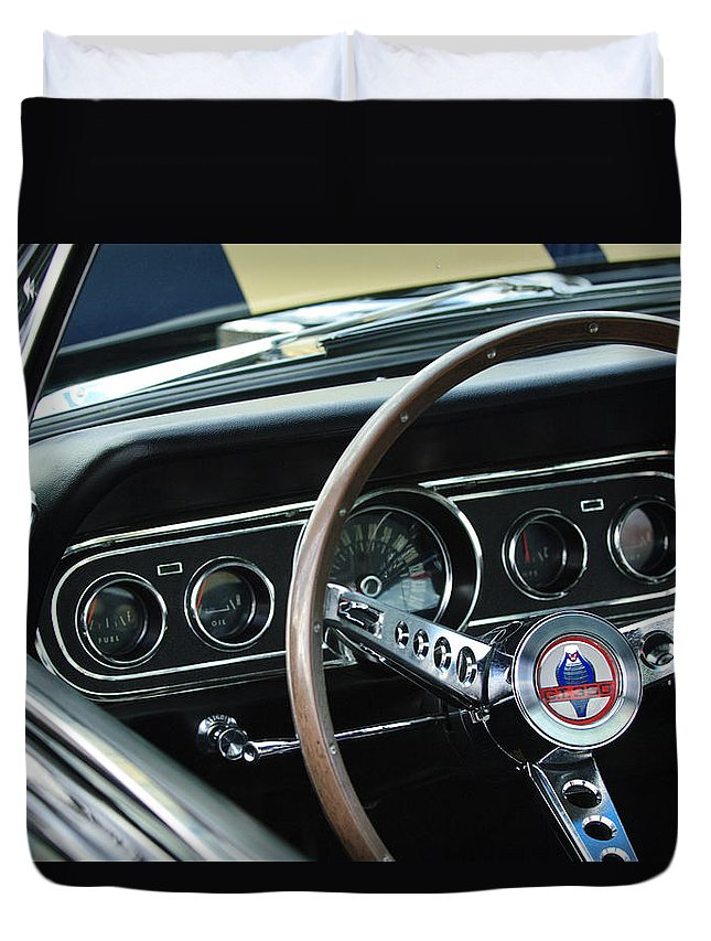 1966 Ford Mustang Cobra Duvet Cover featuring the photograph 1966 Ford Mustang Cobra Steering Wheel by Jill Reger