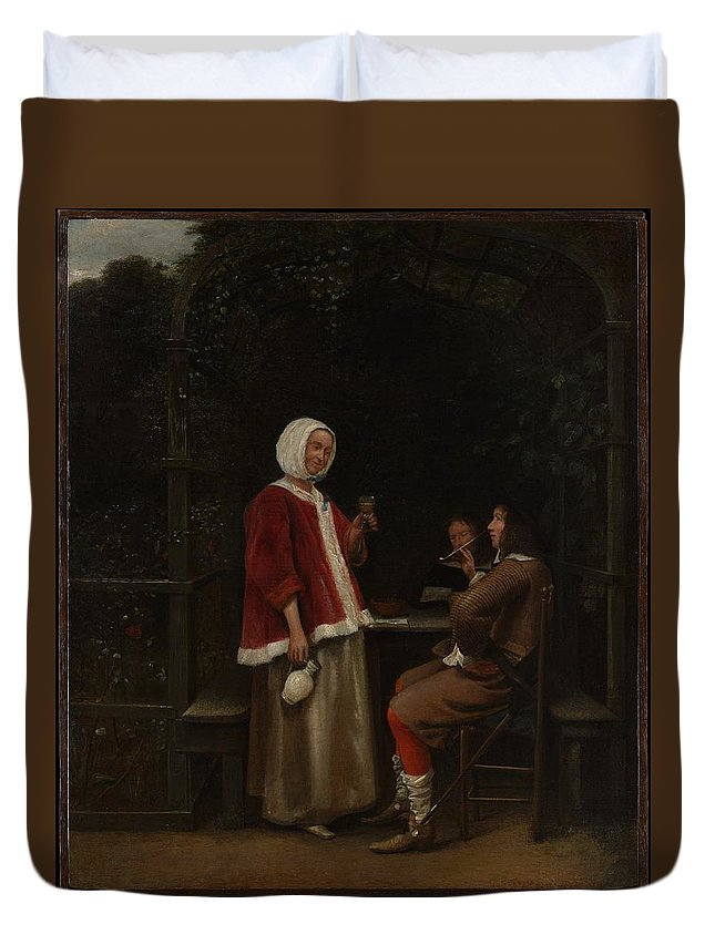 Pieter De Hooch A Woman And Two Men In An Arbor Duvet Cover featuring the painting A Woman And Two Men In An Arbor by Pieter de Hooch