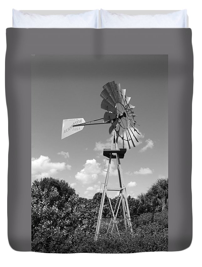 Black And White Duvet Cover featuring the photograph Aermotor Windmill by Rob Hans