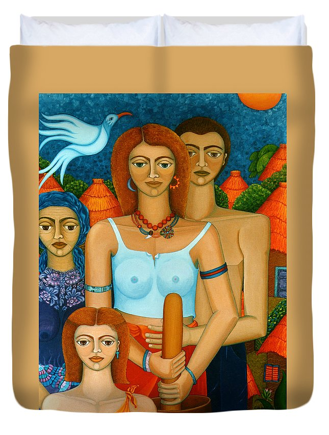 Ages Duvet Cover featuring the painting 3 Ages Of A Woman And A Man by Madalena Lobao-Tello