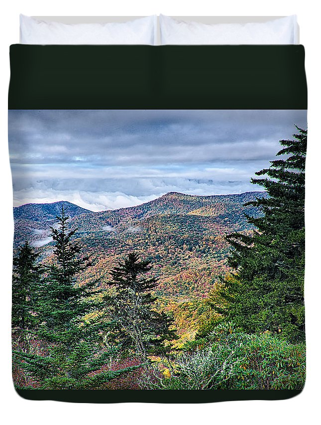 Mountains Duvet Cover featuring the photograph Autumn Foliage On Blue Ridge Parkway Near Maggie Valley North Ca by Alex Grichenko
