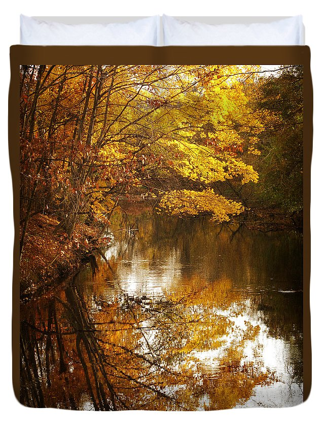 Autumn Duvet Cover featuring the photograph Autumn Reflected by Jessica Jenney
