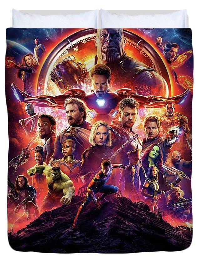 Avengers Infinity War Duvet Cover featuring the digital art Avengers Infinity War by Geek N Rock