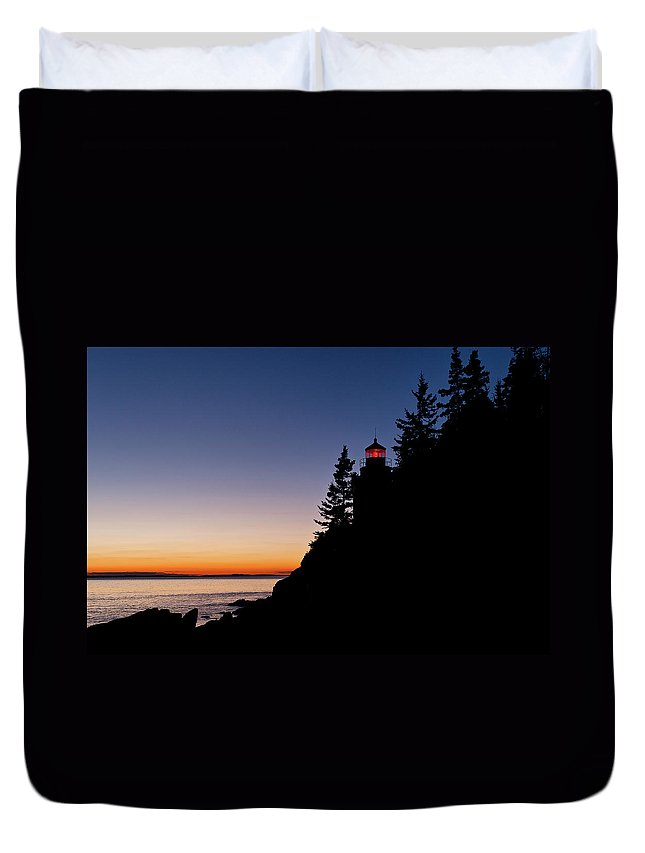 Bass Harbor Duvet Cover featuring the photograph Bass Harbor Lighthouse by John Greim