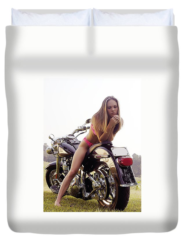 Duvet Cover featuring the photograph Bikes And Babes by Clayton Bruster