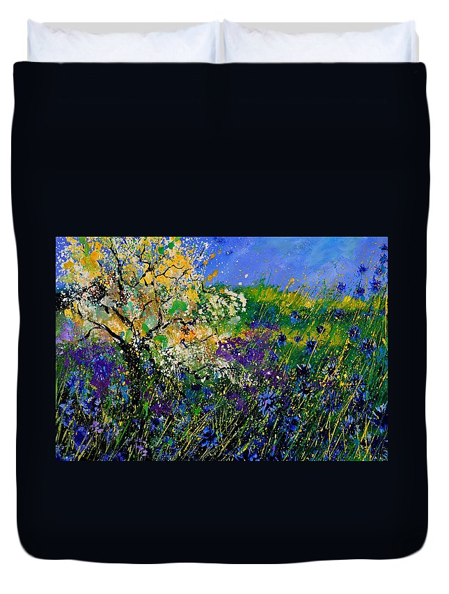 Flowers Duvet Cover featuring the painting Blue Cornflowers by Pol Ledent