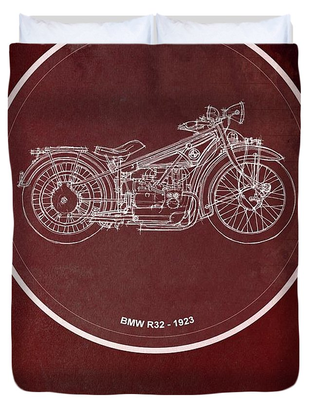Bmw R32 Duvet Cover featuring the painting Bmw R32 1923 - For Some There's Therapy, For The Rest Of Us There's Motorcycles by Drawspots Illustrations