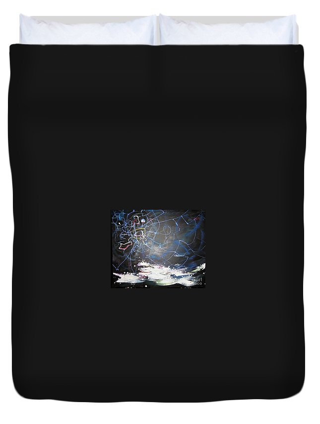 Abstract Paintings Duvet Cover featuring the painting Buckwheat Field by Seon-Jeong Kim