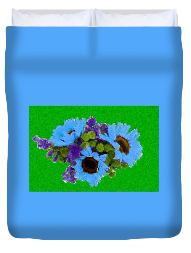 Colors Duvet Cover featuring the painting Bunch Of Pretty Flowers by Bruce Nutting