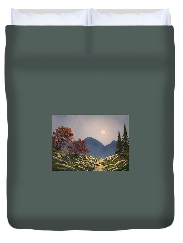 Mountains Duvet Cover featuring the painting By The Light Of The Moon by Frank Wilson
