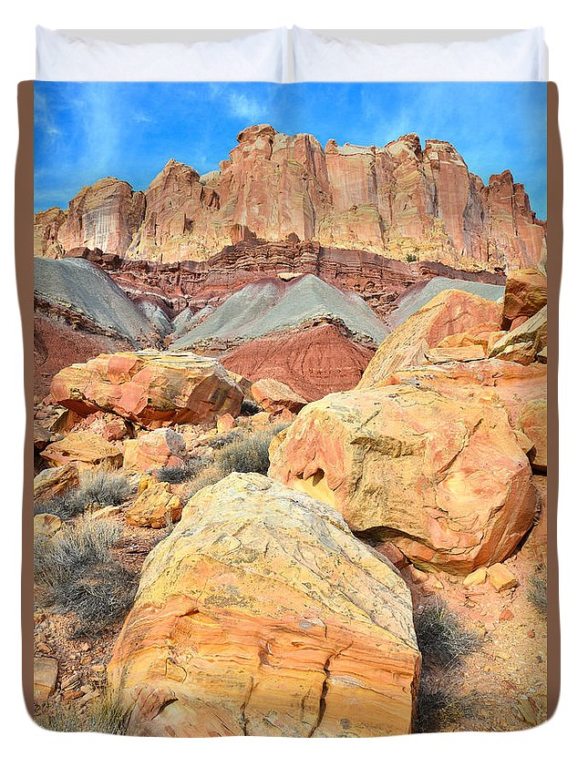 Capitol Reef National Park Duvet Cover featuring the photograph Capitol Reef Sunset by Ray Mathis