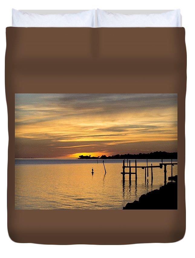 'cedar Key' Duvet Cover featuring the photograph Cedar Key Sunset by Charlotte Johnson