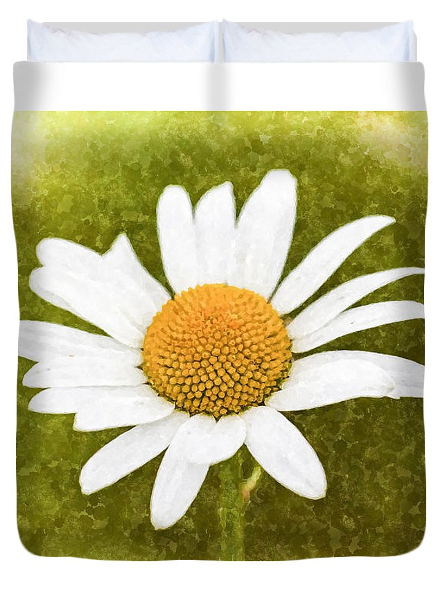 Camomile Duvet Cover featuring the photograph Chamomile Watercolor by David Pyatt