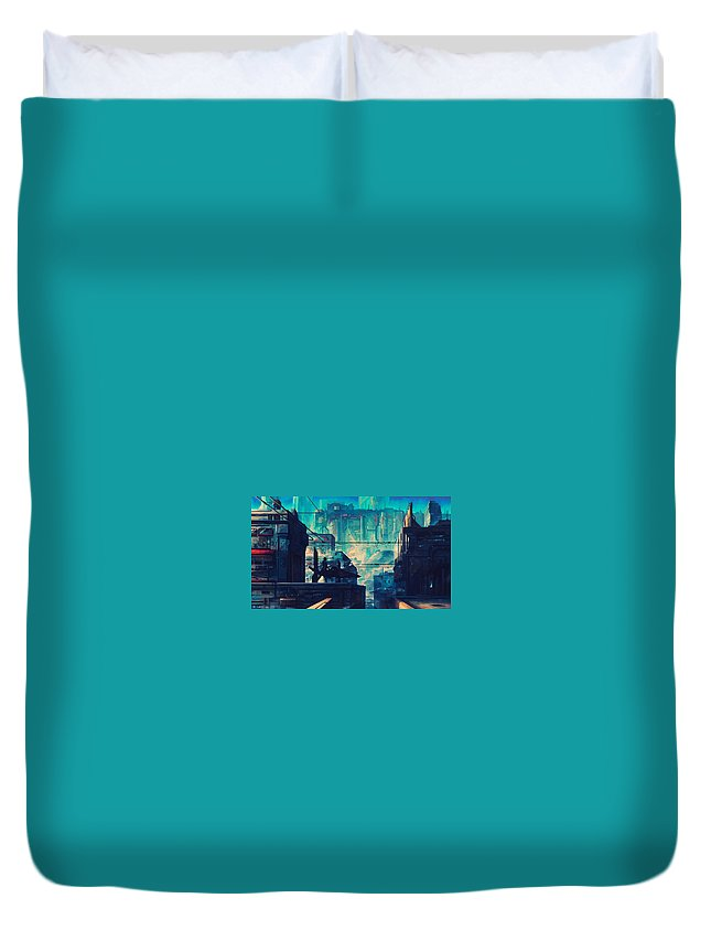 City Duvet Cover featuring the digital art City by Dorothy Binder