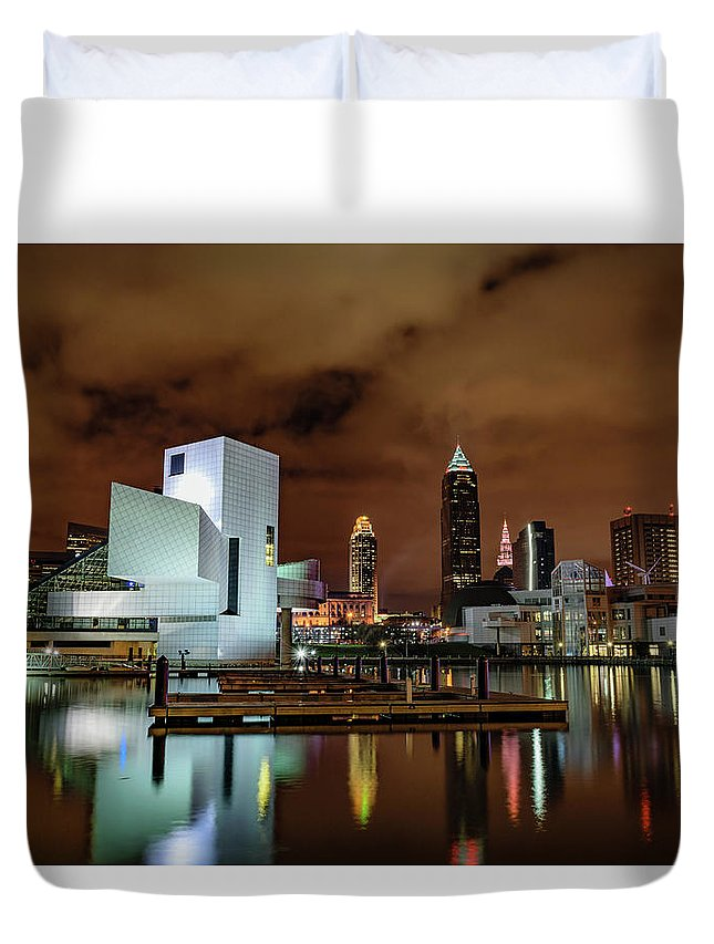 And Duvet Cover featuring the photograph Cleveland Skyline At Night by Cityscape Photography