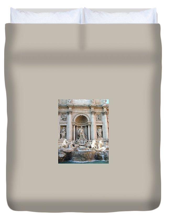 Trevi Duvet Cover featuring the photograph 3 Coins In A Fountain by Mindy Newman