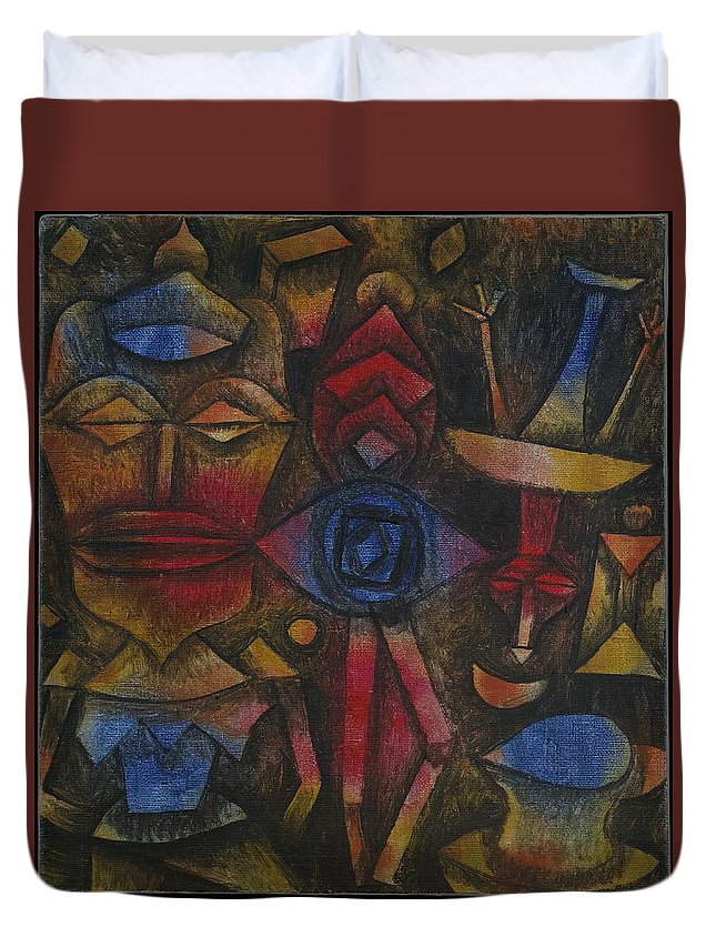 Paul Klee Collection Of Figurines Duvet Cover featuring the painting Collection Of Figurines by Paul Klee