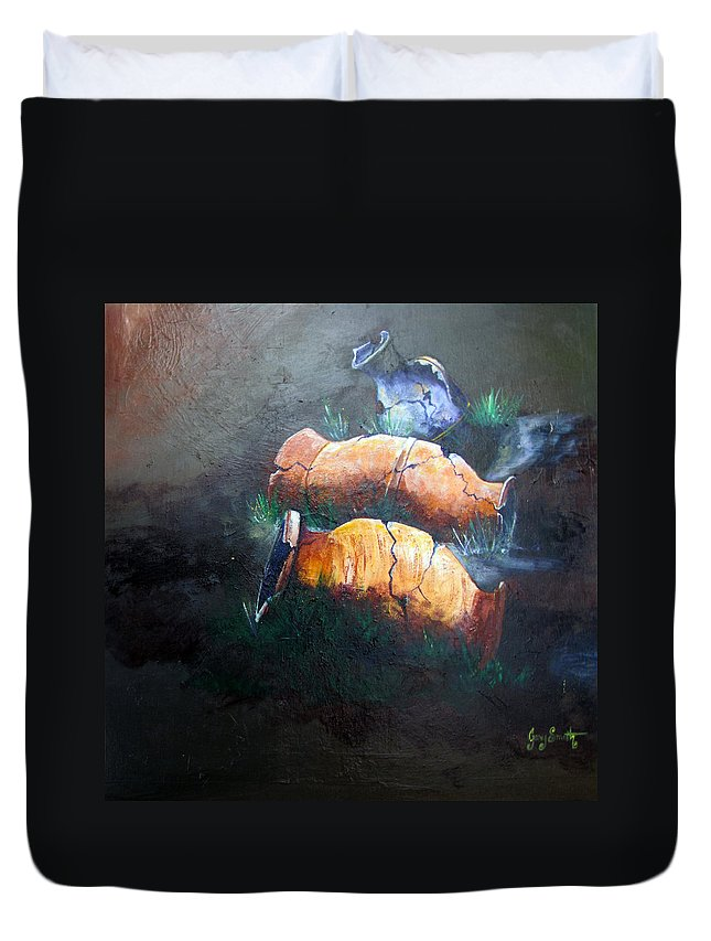 Urns Duvet Cover featuring the painting 3 Cracked Urns by Gary Smith