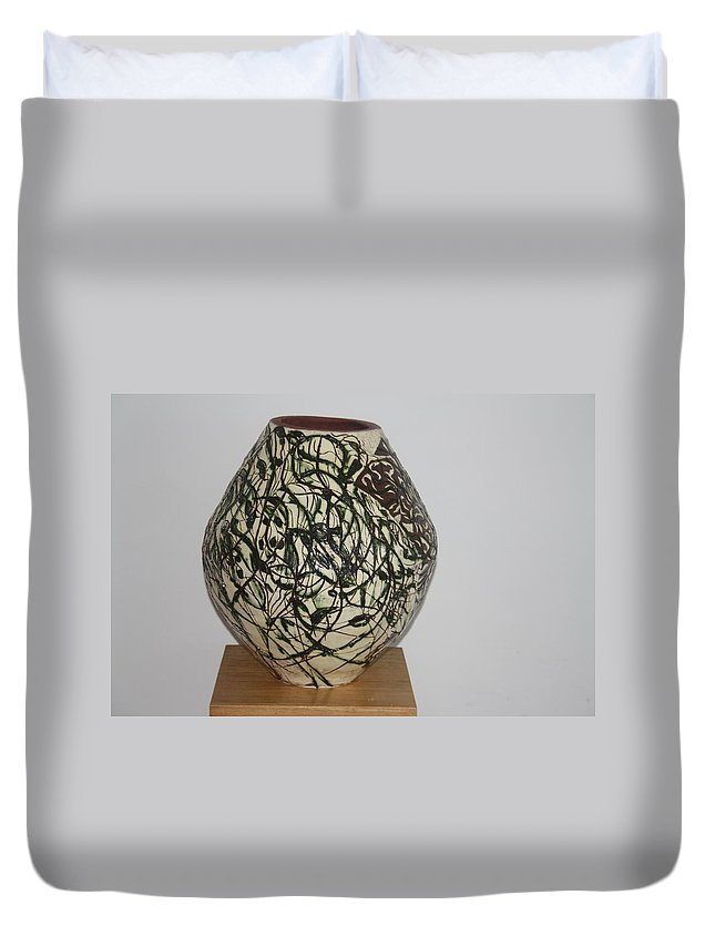 Jesus Duvet Cover featuring the ceramic art Deity by Gloria Ssali