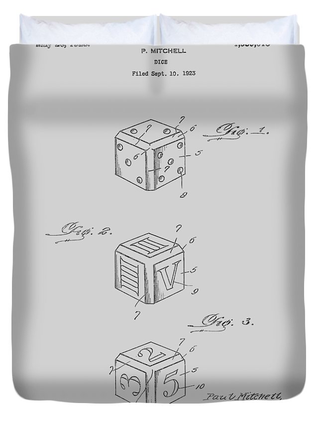 Dice Duvet Cover featuring the photograph Dice Patent From 1923 by Chris Smith