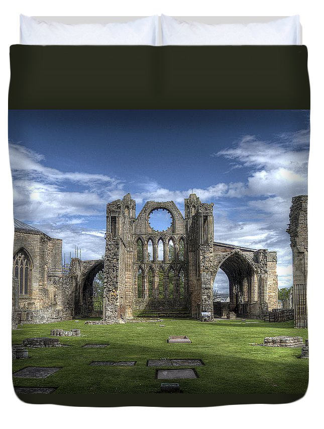 Elgin Duvet Cover featuring the photograph Elgin Cathedral by Mark Smith