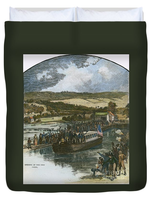1825 Duvet Cover featuring the photograph Erie Canal Opening, 1825 by Granger