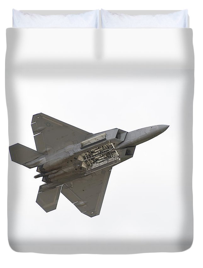 Airplane Duvet Cover featuring the photograph F-22 Raptor by Sebastian Musial
