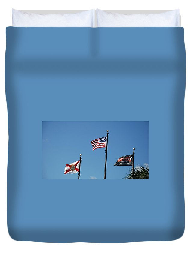 American Flag Duvet Cover featuring the photograph 3 Flags by Rob Hans