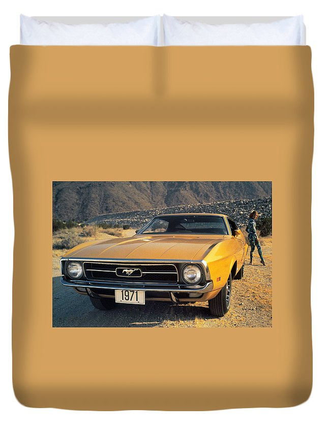 Ford Mustang Duvet Cover featuring the digital art Ford Mustang by Bert Mailer