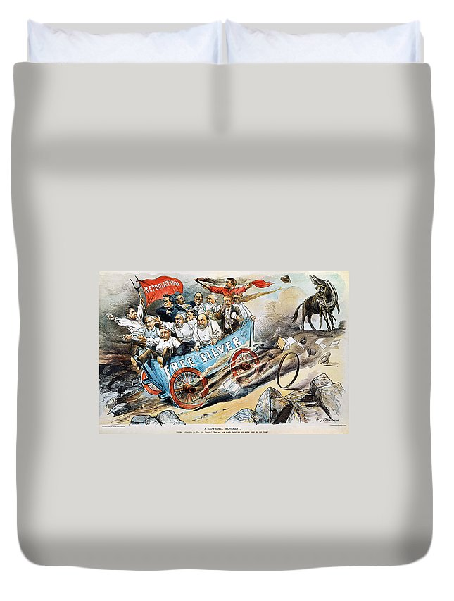 1896 Duvet Cover featuring the photograph Free Silver Cartoon, 1896 by Granger