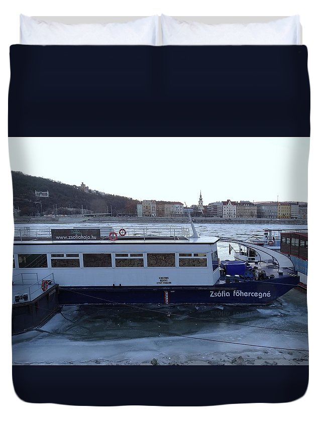 Danube Duvet Cover featuring the photograph Genre Picture By Frozen Danube by Explorer Lenses Photography
