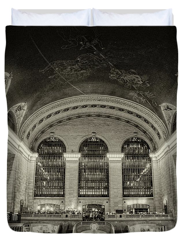 Black & White Duvet Cover featuring the photograph Grand Central by Eric Ferrar