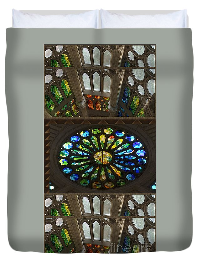 Church Duvet Cover featuring the mixed media Graphic Art From Photo Library Of Photographic Collection Of Christian Churches Temples Of Place Of by Navin Joshi