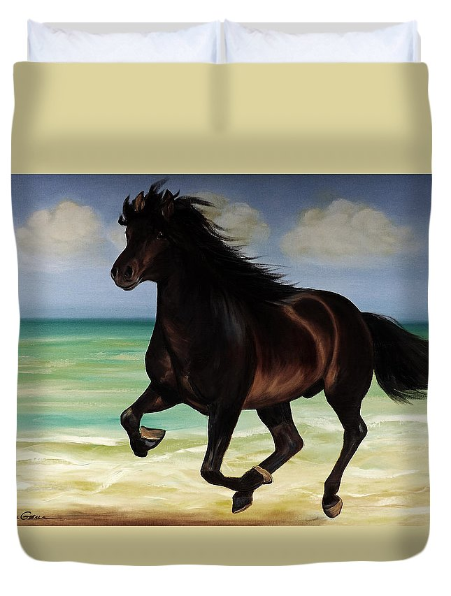 Horse Duvet Cover featuring the painting Horses In Paradise Run by Gina De Gorna