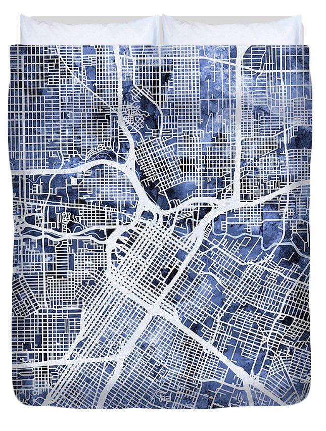 Street Map Duvet Cover featuring the digital art Houston Texas City Street Map by Michael Tompsett