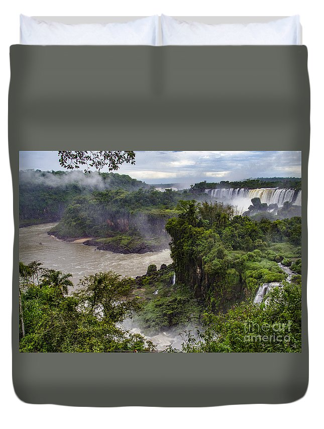 Iguazu Falls Duvet Cover featuring the photograph Iguazu Falls - South America by Jon Berghoff