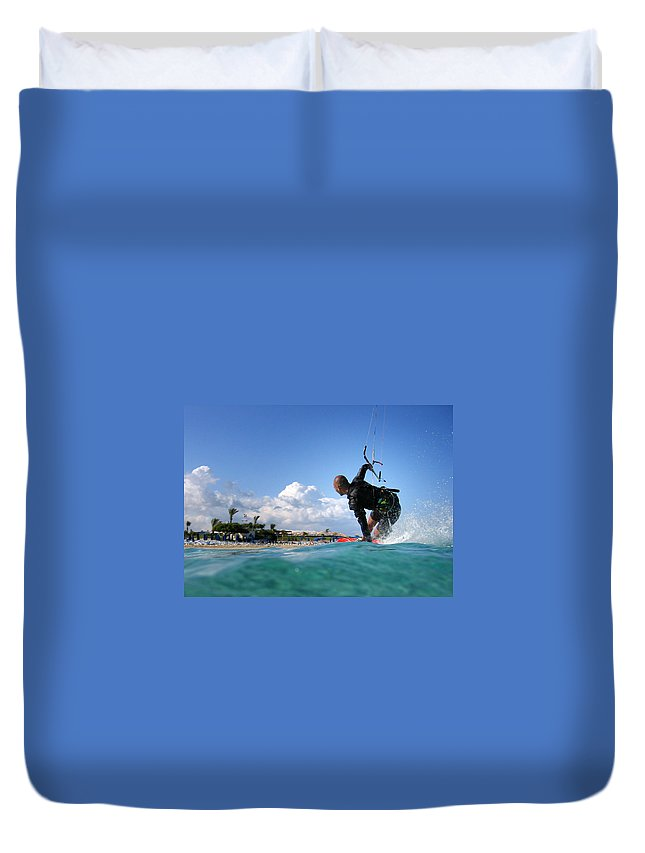 Adventure Duvet Cover featuring the photograph Kitesurfing by Stelios Kleanthous