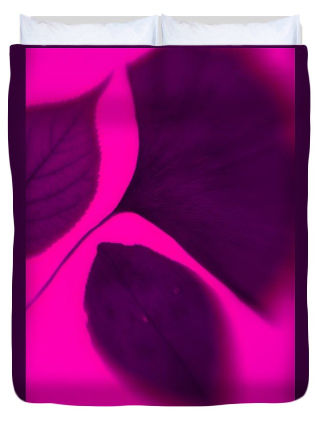 Pink Duvet Cover featuring the photograph 3 Leaves Series by Tamarra Tamarra