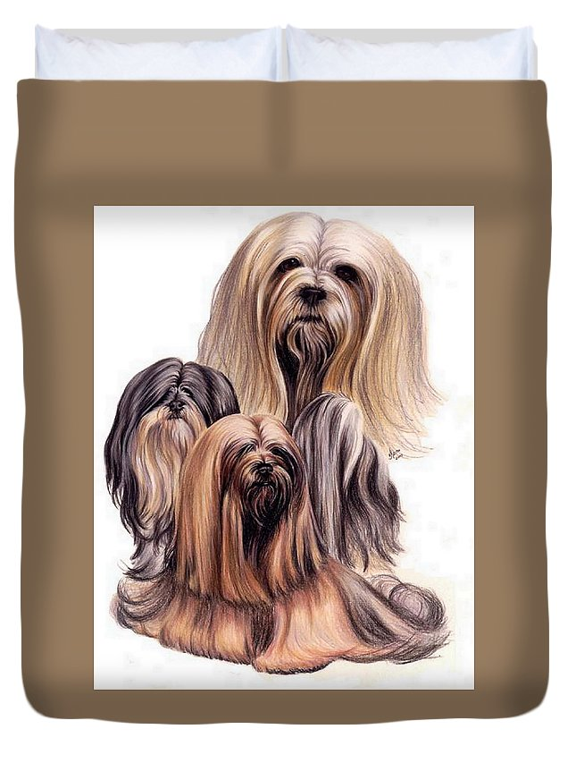 Purebred Duvet Cover featuring the drawing Lhasa Apso by Barbara Keith
