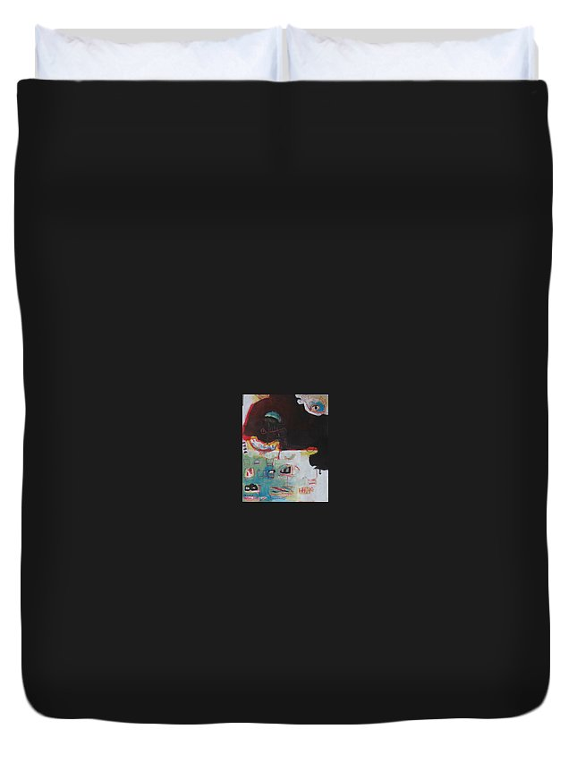 Abstract Paintings Duvet Cover featuring the painting Little Bay by Seon-Jeong Kim