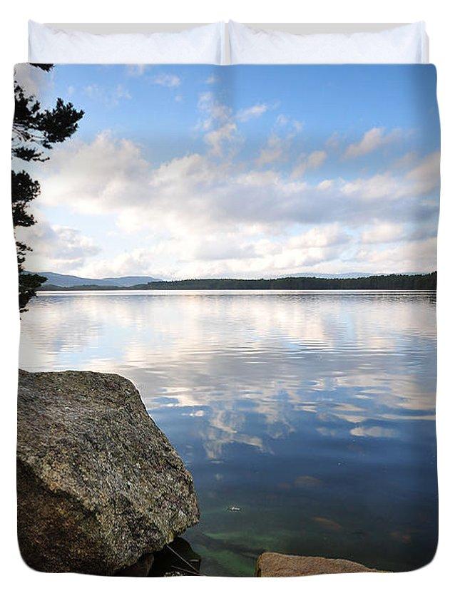 Loch Morlich Duvet Cover featuring the photograph Loch Morlich by Smart Aviation