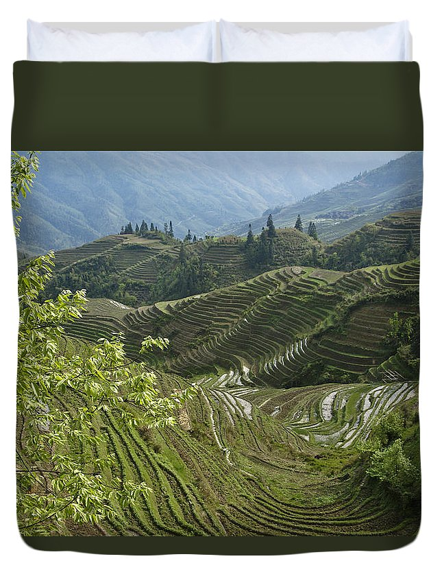 Asia Duvet Cover featuring the photograph Longsheng Rice Terraces by Michele Burgess