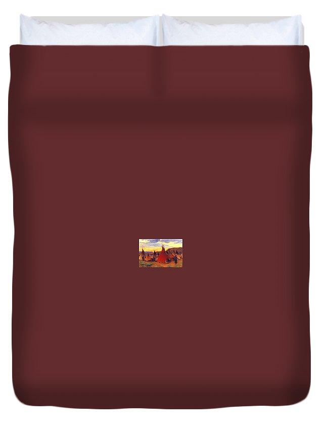 Tent Duvet Cover featuring the digital art lrs Sharp Joseph Henry Evening Crow Reservation Joseph Henry Sharp by Eloisa Mannion