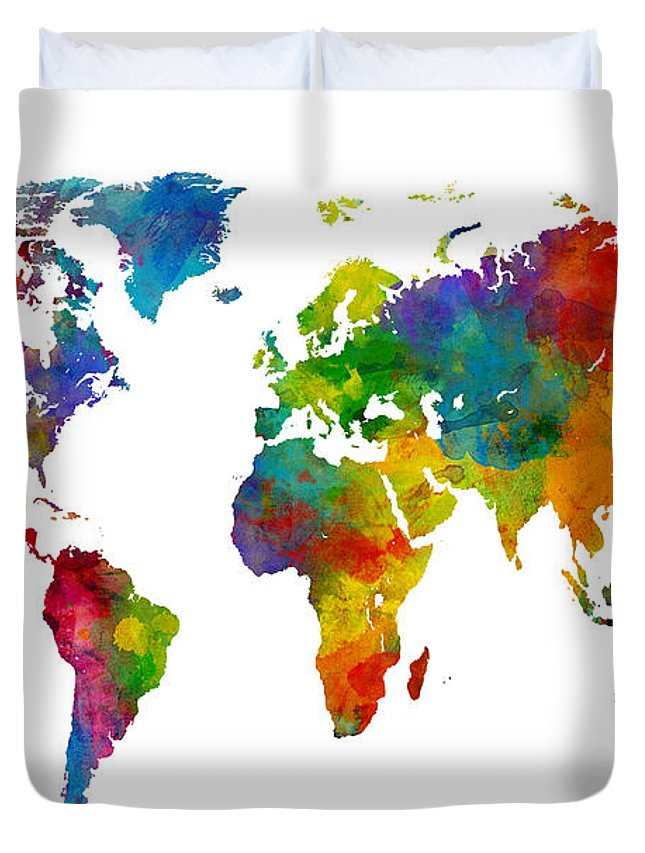 Map Of The World Map Watercolor Duvet Cover for Sale by Michael Tompsett