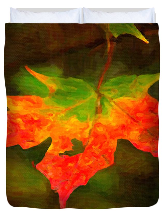 Digital Painting Duvet Cover featuring the painting Maple Leaf by Andre Faubert
