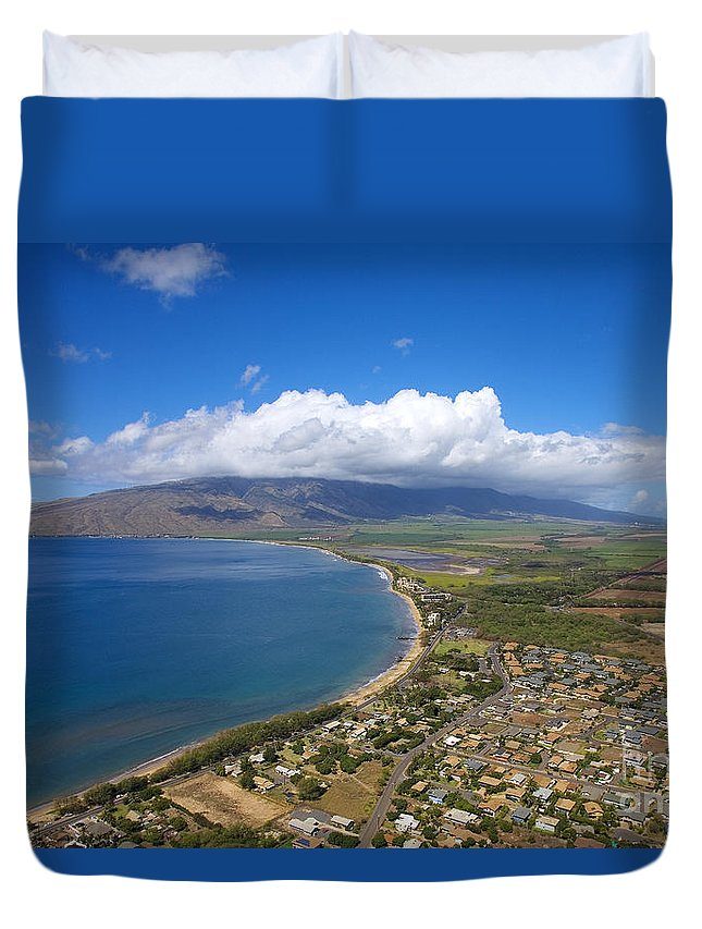 Above Duvet Cover featuring the photograph Maui Aerial by Ron Dahlquist - Printscapes