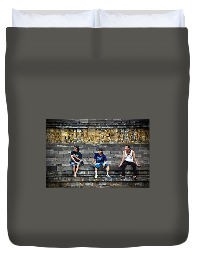 Men Duvet Cover featuring the photograph 3 Men Watching by Charuhas Images