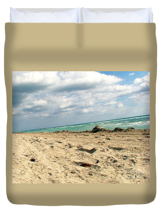 Miami Duvet Cover featuring the photograph Miami Beach by Amanda Barcon